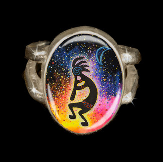 "Kokopelli ""Life Spark"" And Abundance Energy Ring"