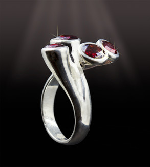 Indian Earth-Fire Goddess Ring - Garnet & Silver