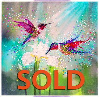 Hummingbirds Good Luck And Abundance Totem.  Original energy painting.