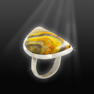 "Bumble Bee Jasper ""Energy Jumpstart"" Ring - Authentic Gems & Silver"