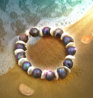 """Ocean Of Calm"" Pearl Energy Bracelet - Hand Selected Baroque Peacock Pearls"