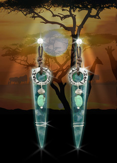 "African ""Stone Of Knowledge"" Earrings - African Jade, Turquoise, Silver"