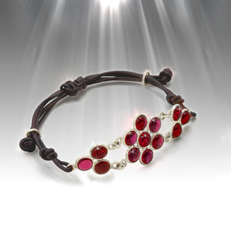 "Sacred Geometry ""Egg Of Life"" Fertility And Spiritual Health Bracelet - Red Garnet And Silver"