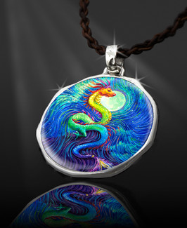 "Dragon's Moon Energy Pendant  From the ""New Bohemian"" Collection. Platinum Plated."