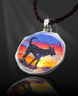 "Star Dog - The Spirit Of Pure Love Energy Pendant-  ""New Bohemian"" Collection. Platinum Plated."
