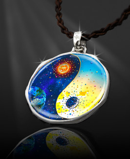 "Yin And Yang Sun & Moon Positive Energy Pendant  From the ""New Bohemian"" Collection. Platinum Plated."