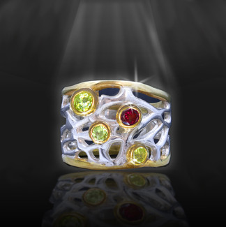 "The ""Great Cosmic Web Of Creation"" Energy Ring - Silver, Rose Gold, Garnet, Peridot"