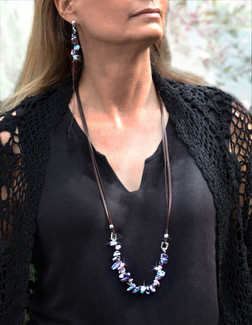 Ocean's Treasures Pearl Abundance Necklace - Keshi Peacock Pearls. Bohemian Design