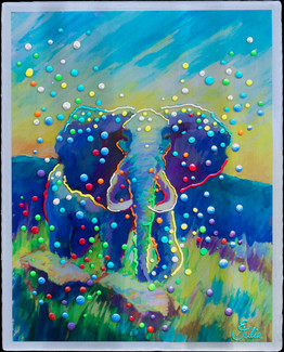 Indigo Elephant - Original energy painting