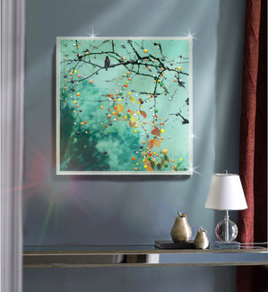 Birdsong Green Morning Mist - Original energy painting
