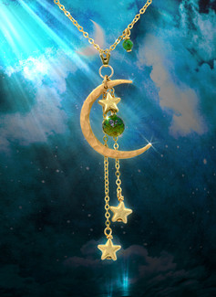 Manifest Your Dreams Energy Necklace - Moon & Stars With Rare Dark Green Chrysoberyl And Emerald