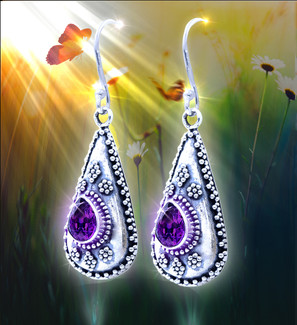 "Nepalese ""Mind Clarifying"" Energy Earrings - Mountain flower design and amethyst facilitate clearer thoughts."