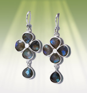 "Lucky Four Leaf Clover Energy Earrings With ""Fairy Fire"" Labradorite"
