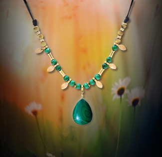 Malachite Positive Protection Energy Necklace - Guaranteed authentic stones deflect negativity.