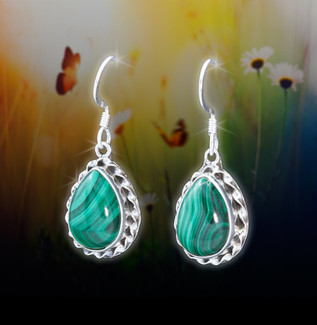 Malachite Positive Protection Energy Earrings - Guaranteed authentic stones deflect negativity