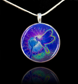Blue Dragonfly Pendant - Emits powerful life-force energies