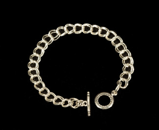 Silver Charm Bracelet - Double Wire. Bracelet only.