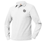 A+ Unisex Polo Pique Long Sleeve WHITE with School Logo