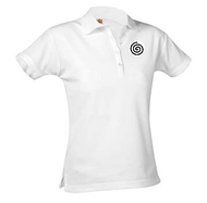 A+ Female White Short Sleeve Pique Polo with Logo