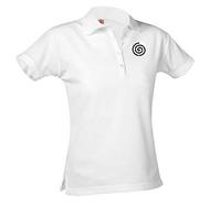 A+ Female White Short Sleeve Pique Polo with Logo