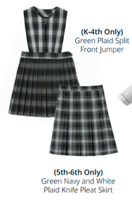 Ambrose Plaid Split Front Jumper. Grades K-4th Only.