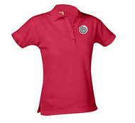 A+ Female Red Short Sleeve Pique Polo with Logo
