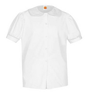 A+ Short Sleeve Peterpan Blouse White No Color Trim