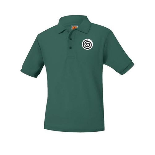 A+ Polo Pique Short Sleeve Unisex Dark Green with Logo