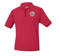 A+ Polo Pique Short Sleeve Unisex Red with Logo