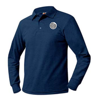 A+ Unisex Polo Pique Long Sleeve NAVY with School Logo