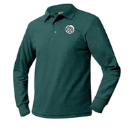 A+ Unisex Polo Pique Long Sleeve Dark Green with School Logo