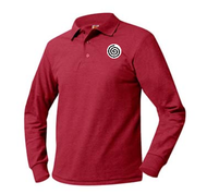 A+ Unisex Polo Pique Long Sleeve Red with School Logo