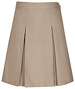 Classroom Kick Pleat Skirt Khaki Traditional Kick-pleat skirt has 4 pleats, full back elastic, and side-zip for easy closure and great fit. Sits at natural waist. Easy care soil-release poly/cotton twill.