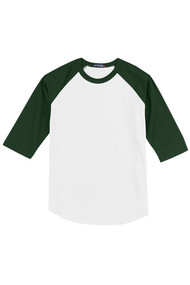 Sacred Heart Spirit Wear Youth and Adult Unisex Baseball T-Shirt Forest Green or Gold Sleeves