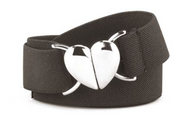 "EDT 1"" Elastic Belt w/Heart Shaped Buckle Navy"
