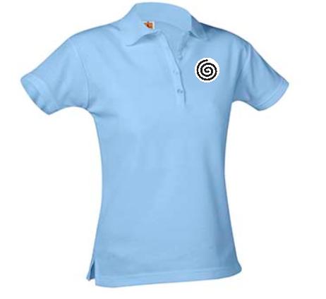A+ Female Columbia Blue Short Sleeve Pique Polo with School Logo