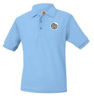 A+ Polo Pique Short Sleeve Unisex Columbia Blue with Logo