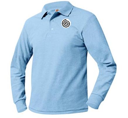A+ Unisex Polo Pique Long Sleeve Columbia Blue with Logo