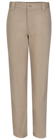 Boys Narrow Leg pant has a contemporary fit that is 2 inches narrower thru the leg than our traditional flat front pant. Slimmer leg without being tight, the Narrow leg pant is made from stretch twill with spandex for comfort and fit. Button-thru closure waist has interior adjustable tabs, 5 wide belt loops, and sits lower on the hip.