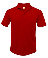 Dry-Fit Moisture-Wicking Jersey Polo Red With school logo.