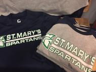 St. Mary's Boise Spirit Wear Baseball T-shirt Grey with Navy Sleeves