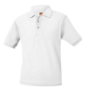 A+ Polo Pique Band Short Sleeve Unisex White NO LOGO*** ***Verify with your dress code