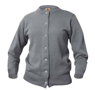 SW A+ Female Cardigan Crew Neck Sweater 6000 GRAY ***No Logo***