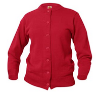 A+ Female Cardigan Crew Neck Sweater 6000 RED ***No Logo***