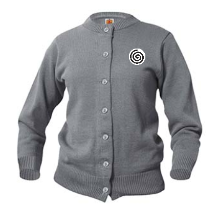 A+ Female Cardigan Crew Neck Sweater 6000 GREY with LOGO