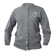 A+ Female Cardigan Crew Neck Sweater 6000 GREY with LOGO
