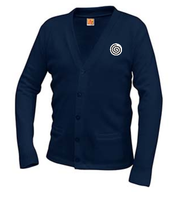 A+ Classic V-Neck Cardigan 6300 NAVY with LOGO