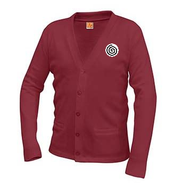 A+ Classic V-Neck Cardigan 6300 CARDINAL RED with LOGO