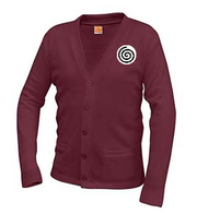 A+ Classic V-Neck Cardigan 6300 WINE  with LOGO