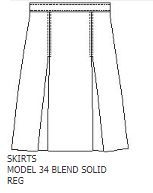 KICK PLEAT KHAKI SKIRT  Features 1034 • skirt with 2 kick pleats, right side seam pocket and adjustable inside waistband Blend Solids (BS) A+ Fabrics: Twill: 65% polyester / 35% cotton